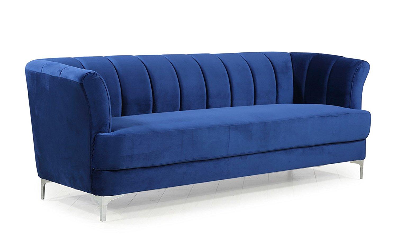 Elegant velvet sofa navy blue voyaide commerce - Navy blue velvet sofa ...